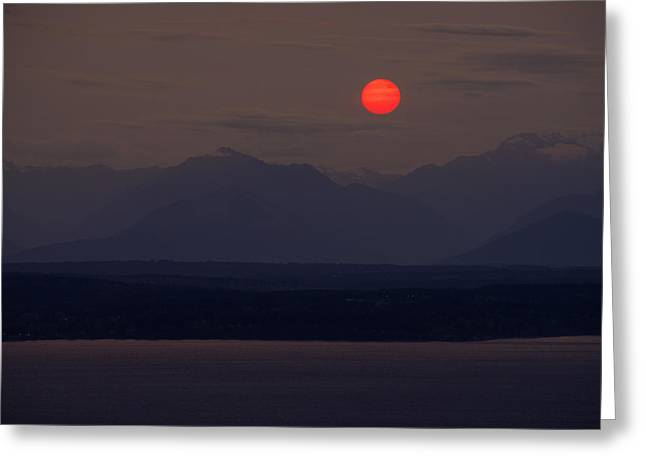 Northwest Red Sunset Over The Olympics Greeting Card by Mike Reid