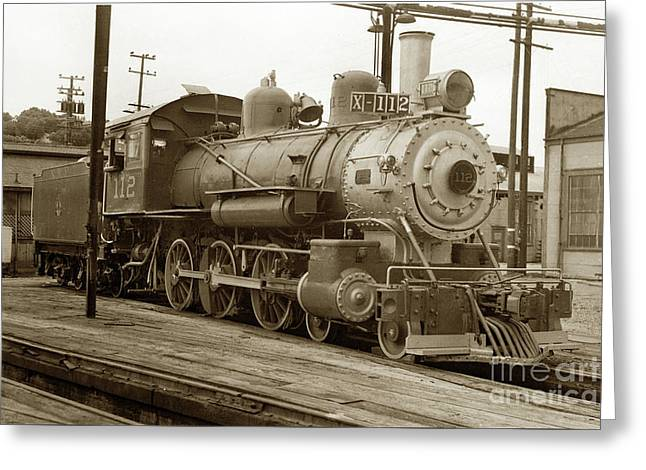 Alco Locomotives Greeting Cards - Northwestern Pacific locomotive 4-6-0 No. 112 in the Tiburon Yar Greeting Card by California Views Mr Pat Hathaway Archives