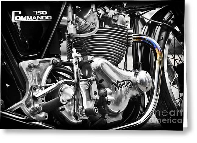 Commandos Greeting Cards - Norton Commando 750cc Cafe Racer Engine Greeting Card by Tim Gainey
