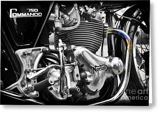 Commandos Greeting Cards - Norton Commando 750cc Cafe Racer Engine Greeting Card by Tim Gainey