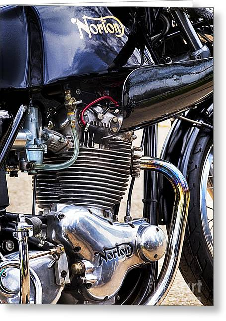 Commandos Greeting Cards - Norton Commando 750cc Cafe Racer HDR Greeting Card by Tim Gainey