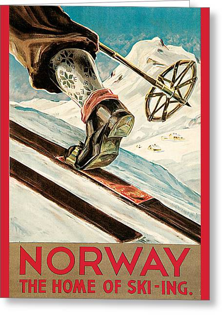 Skiing Poster Greeting Cards - Norway Greeting Card by Dagtin Anssen