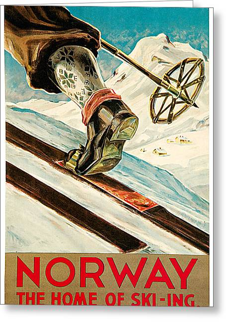 Skiing Poster Greeting Cards - Norway Greeting Card by Dagtin Th Hanssen