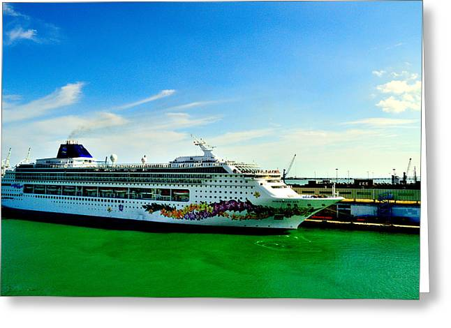 Carnival Glory Greeting Cards - Norwegian Cruise Ship Greeting Card by Srinivasan Venkatarajan
