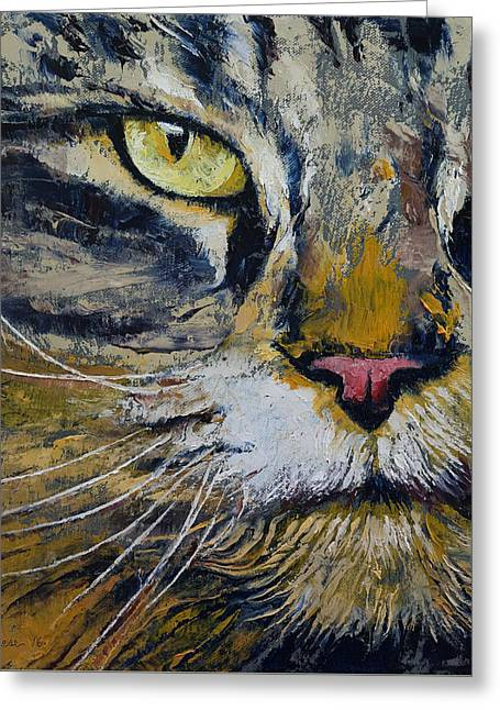 Norwegian Forest Cat Greeting Card by Michael Creese