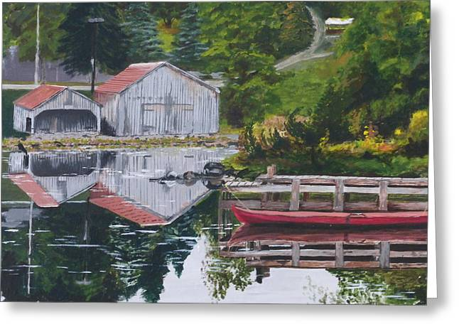 Norwegian Boathouses Greeting Cards - Norwegian Reflections Greeting Card by Barbara Ebeling
