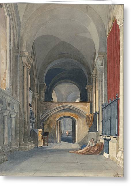 Norwich Cathedral - Interior Of The North Aisle Of The Choir, Looking East  Greeting Card by John Sell Cotman