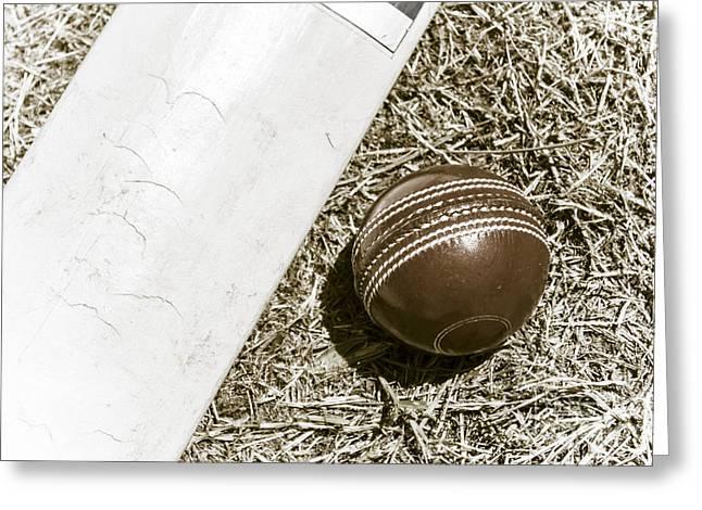 Cricket Bat Greeting Cards - Nostalgic cricket bat and ball Greeting Card by Ryan Jorgensen