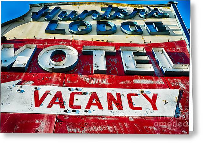 Historic Architecture Greeting Cards - Nostalgic Motel Sign Greeting Card by George Oze