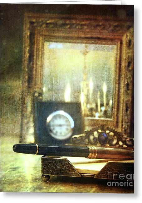 Pen Photographs Greeting Cards - Nostalgic still life of writing pen with clock in background Greeting Card by Sandra Cunningham