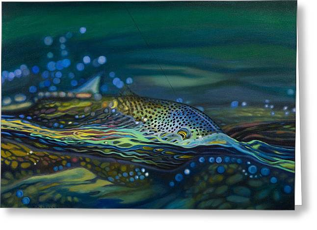 Brown Trout Greeting Cards - Not Over Yet Greeting Card by AD Maddox