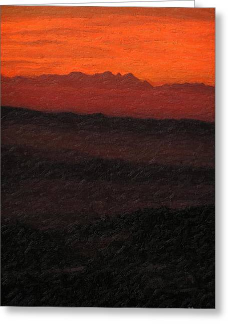Ultra Modern Greeting Cards - Not quite Rothko - Blood Red Skies Greeting Card by Serge Averbukh