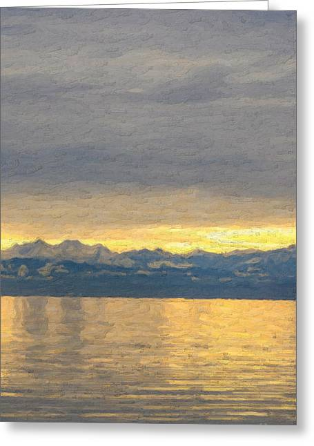 Ultra Modern Greeting Cards - Not quite Rothko - Mountain Sunset Greeting Card by Serge Averbukh