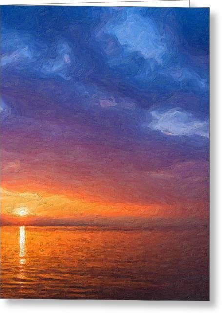 Ultra Modern Greeting Cards - Not quite Rothko - Ocean Sunrise Greeting Card by Serge Averbukh