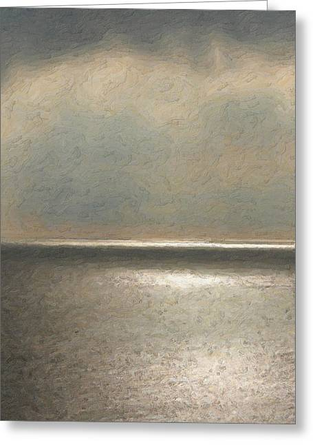 Ultra Modern Digital Greeting Cards - Not quite Rothko - Twilight Silver Greeting Card by Serge Averbukh