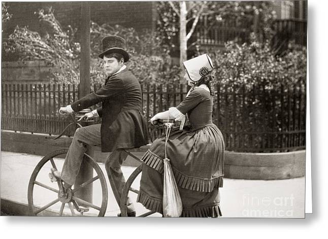 Tandem Bicycle Greeting Cards - Not So Long Ago, 1925 Greeting Card by Granger