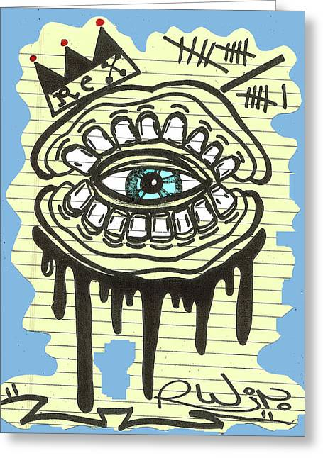 Raw Contemporary Graffiti Greeting Cards - Notebook DrooL Greeting Card by Robert Wolverton Jr