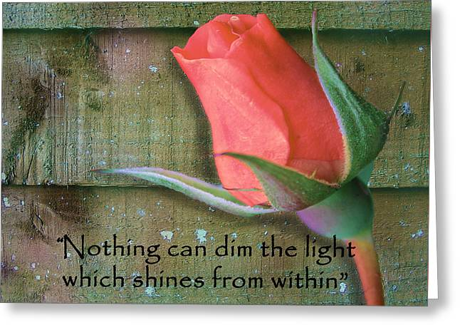 Maya Angelou Greeting Cards - Nothing Can Dim The Light Greeting Card by Nina Silver