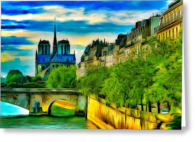 Historic Site Greeting Cards - Notre-Dame and the Seine Greeting Card by Jean-Marc Lacombe