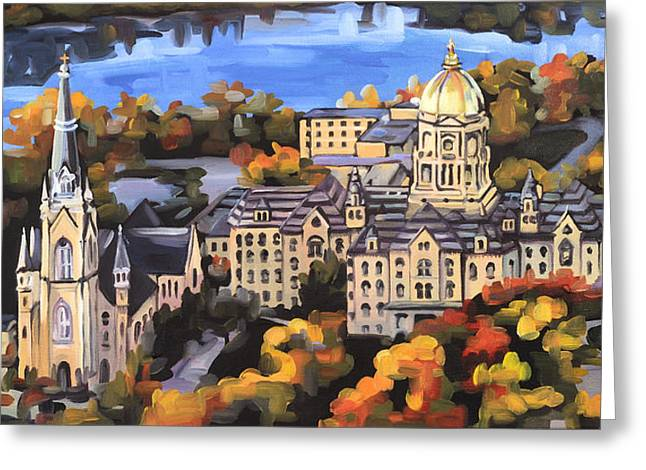 Notre Dame Greeting Card by Anne Lewis