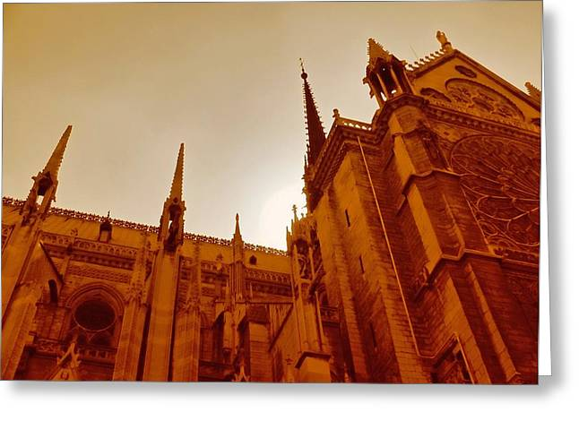 Tony Grider Greeting Cards - Notre Dame At Sunset Greeting Card by Tony Grider