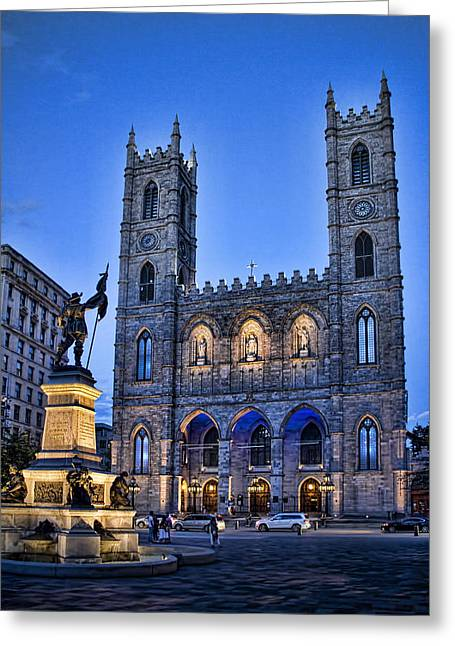 Historic Statue Greeting Cards - Notre Dame Basilica in Montreal as Dusk Greeting Card by David Smith