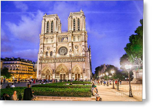 Eerie Greeting Cards - Notre Dame Cathedral Greeting Card by Linda Arnado