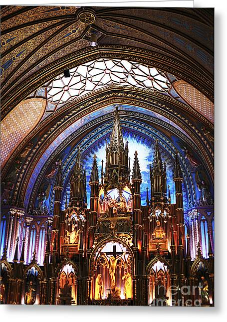 Quebec Province Greeting Cards - Notre Dame Ceiling Greeting Card by John Rizzuto