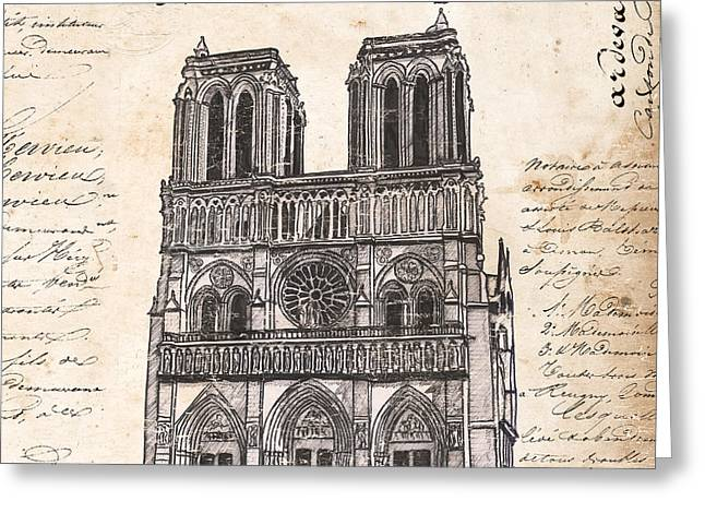 Design Drawings Greeting Cards - Notre Dame de Paris Greeting Card by Debbie DeWitt