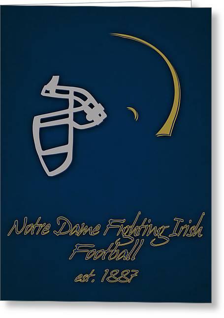 Notre Dame Football Greeting Cards - Notre Dame Fighting Irish Helmet Greeting Card by Joe Hamilton