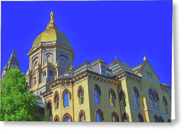 Notre Dame Golden Dome Greeting Card by Dan Sproul