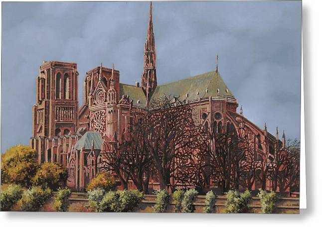 Domes Greeting Cards - Notre-Dame Greeting Card by Guido Borelli