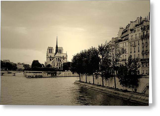 Stepping Stones Greeting Cards - Notre Dame in Half Light Greeting Card by Lana Art