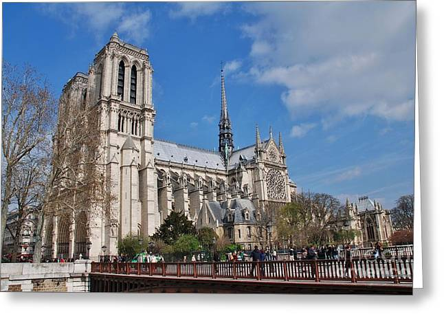 Famous Bridge Greeting Cards - Notre Dame in Paris Greeting Card by David Fowler