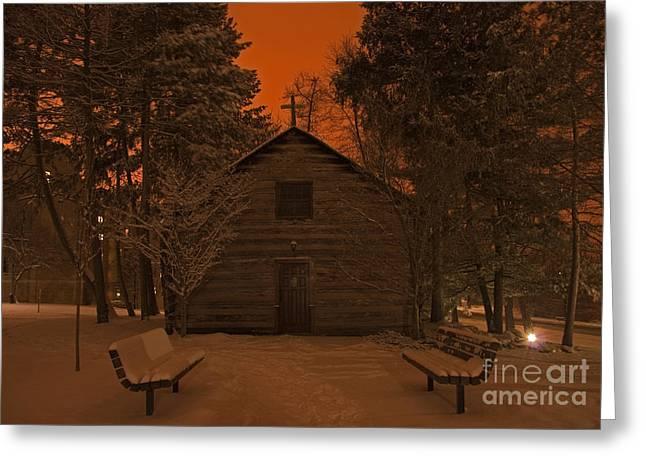 Notre Dame Log Chapel Winter Night Greeting Card by John Stephens