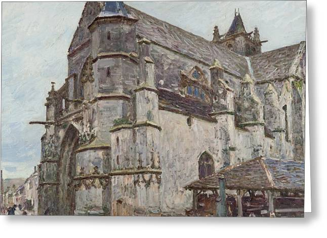 Notre-dame De Moret In The Morning Rain Greeting Card by Alfred Sisley