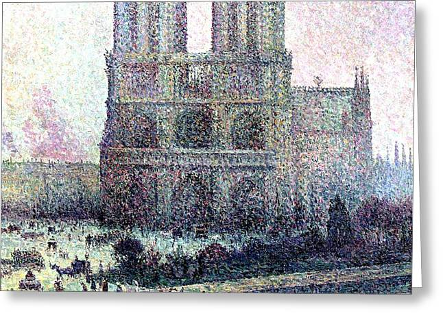 Notre-Dame Paris Greeting Card by Maximilien Luce