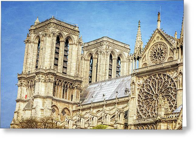 Notre Dame South Facade And Rose Window Greeting Card by Joan Carroll