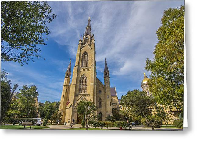 Notre Dame University 3 Greeting Card by David Haskett