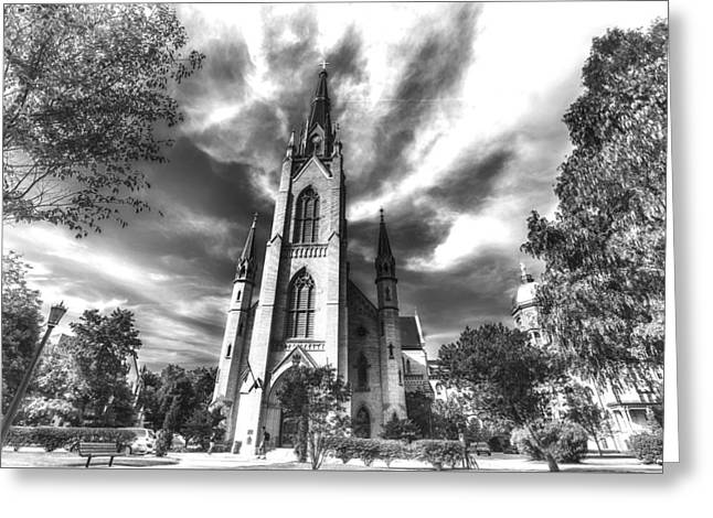 Notre Dame University 4a Black White Greeting Card by David Haskett