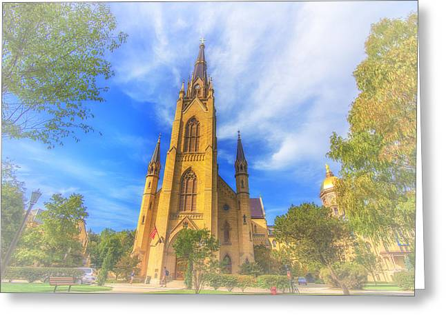 Notre Dame University 5 Greeting Card by David Haskett