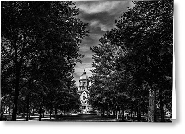 Notre Dame University Black White Greeting Card by David Haskett