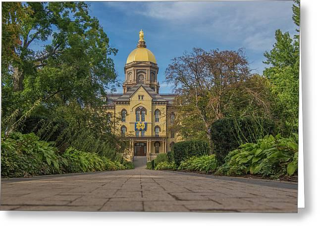 Notre Dame University Q Greeting Card by David Haskett