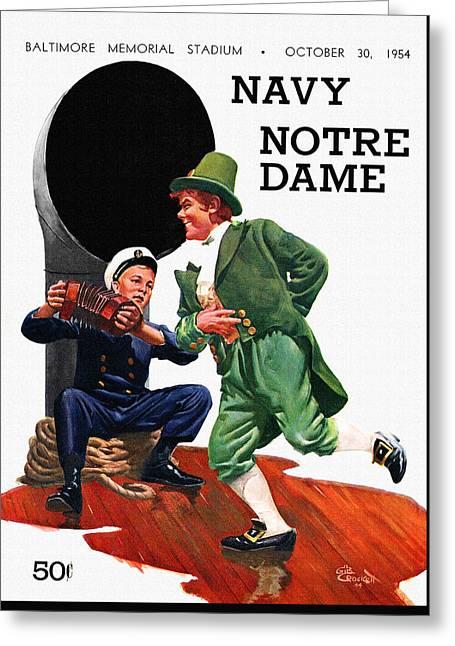 Notre Dame V Navy 1954 Vintage Program Greeting Card by Big 88 Artworks