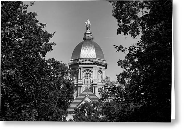 Indiana Autumn Greeting Cards - Notre Dames Golden Dome Greeting Card by Mountain Dreams
