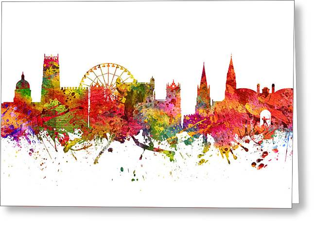 Nottingham Greeting Cards - Nottingham cityscape 08 Greeting Card by Aged Pixel