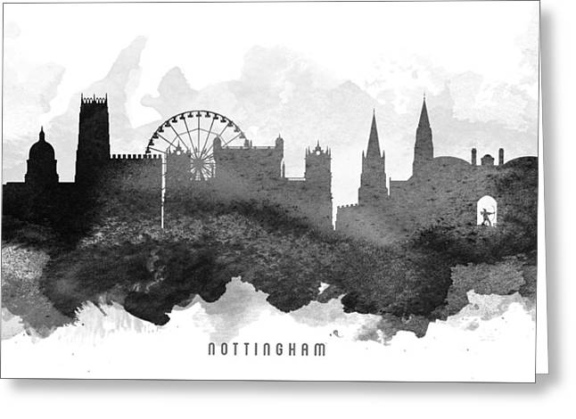 Nottingham Greeting Cards - Nottingham Cityscape 11 Greeting Card by Aged Pixel