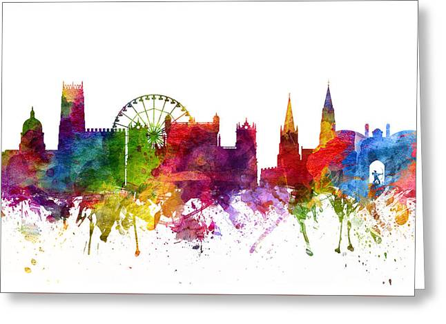 Nottingham Greeting Cards - Nottingham England Cityscape 06 Greeting Card by Aged Pixel