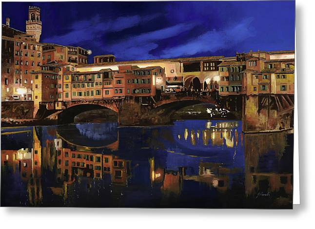 Reflections Paintings Greeting Cards - Notturno Fiorentino Greeting Card by Guido Borelli