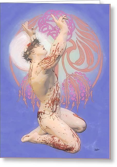 Nouveau Blue Ecce Homo Greeting Card by Joaquin Abella